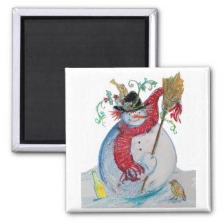 DRUNKED SNOWMAN 2 INCH SQUARE MAGNET