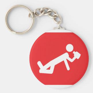 drunken man icon basic round button keychain