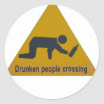 Drunken People Crossing Classic Round Sticker