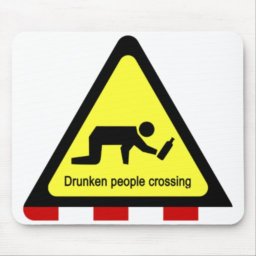 Drunken people crossing ⚠ Thai Sign ⚠ Mouse Pad