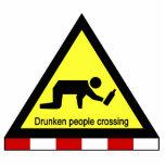 Drunken people crossing ⚠ Thai Sign ⚠ Photo Cutout
