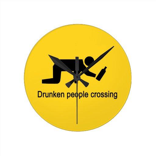 Drunken people crossing ⚠ Thai Sign ⚠ Wallclock