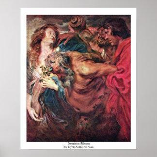 Drunken Silenus By Dyck Anthonis Van Print