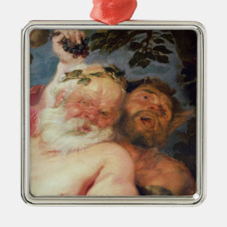 Drunken Silenus Supported by Satyrs, c.1620 Square Metal Christmas Ornament