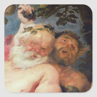 Drunken Silenus Supported by Satyrs, c.1620 Square Sticker