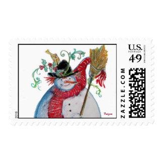 DRUNKEN SNOWMAN detail Postage Stamp