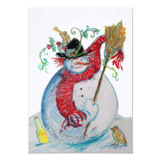 DRUNKEN SNOWMAN WITH BIRDS WINTER HOLIDAY GREETING CARD