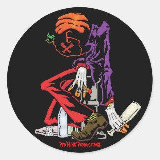 Drunkin' Head Classic Round Sticker