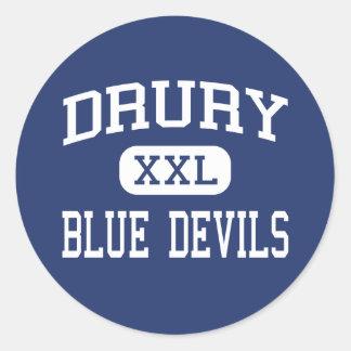 Drury - diablos azules - alto - Adams del norte Pegatina Redonda