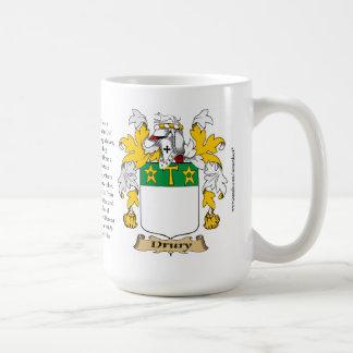 Drury, el origen, el significado y el escudo taza básica blanca