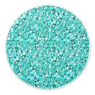 Druzy crystal - aquamarine ceramic knob