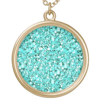 Druzy crystal glitter - aquamarine blue round pendant necklace