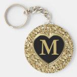 Druzy crystal glitter - metallic gold key chains