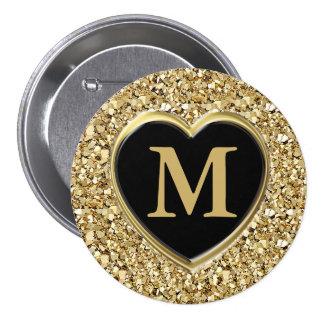 Druzy crystal monogram - metallic gold button