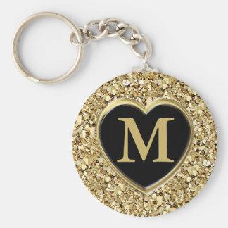 Druzy crystal monogram - metallic gold basic round button keychain