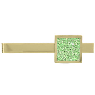 Druzy crystal - peridot green gold finish tie bar