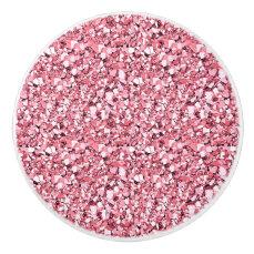 Druzy crystal - rose quartz pink ceramic knob