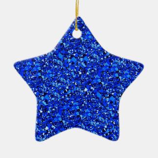 Druzy quartz crystals - cobalt blue ceramic ornament