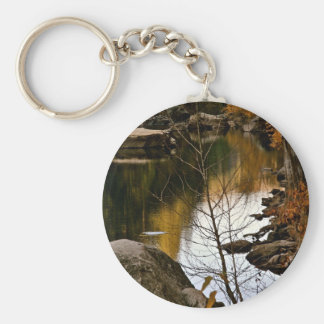 DRY BRANCH WITH RIVER AND LATE FALL BACKGROUND KEYCHAIN