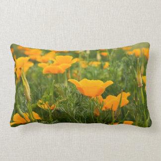 Dry Brush Effect on California Poppy Photograph Lumbar Pillow