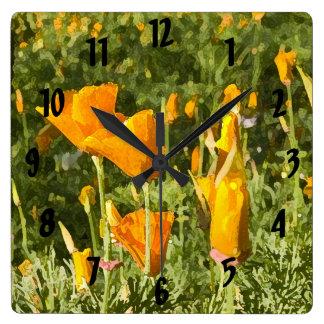 Dry Brush Effect on California Poppy Photograph Square Wall Clock