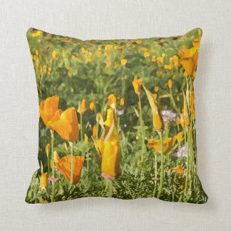 Dry Brush Effect on California Poppy Photograph Throw Pillow