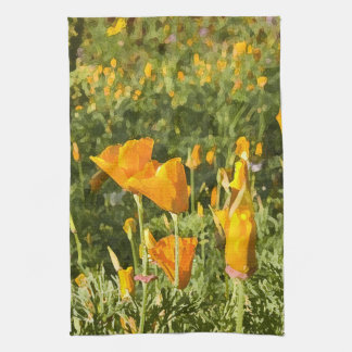 Dry Brush Effect on California Poppy Photograph Towels