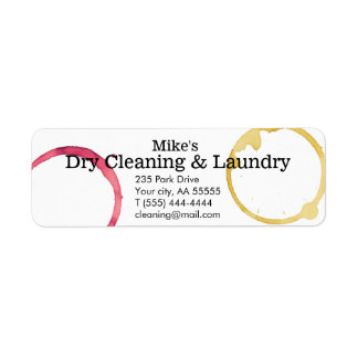 Dry Cleaning laundry stains wine coffee business Label