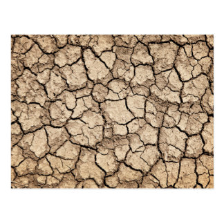 Dry cracked ground during drought postcard