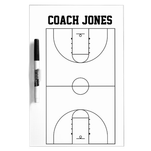 Dry erase board with basketball court plan
