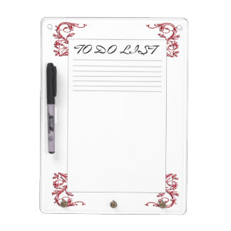 DRY ERASE BOARD -TO DO- RED VINTAGE FLORAL