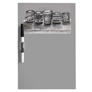Dry Erase Board with Coffee Cup Art Header