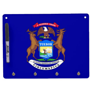 Dry Erase Board with Flag of Michigan, USA