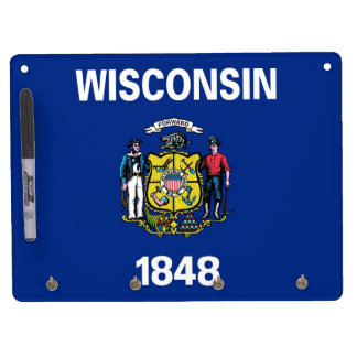 Dry Erase Board with Flag of Wisconsin, USA