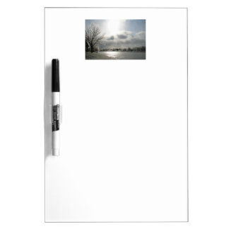 dry erase board with photo of icy winter landscape