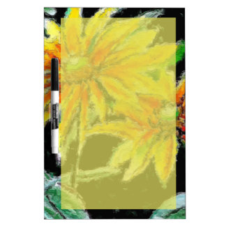 Dry Erase Board with Sunflower Art