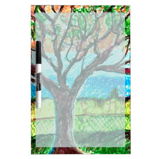 Dry Erase Board with Tree Art