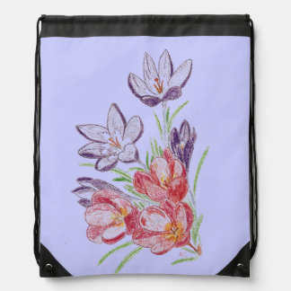 Dry flowers blue drawstring backpack