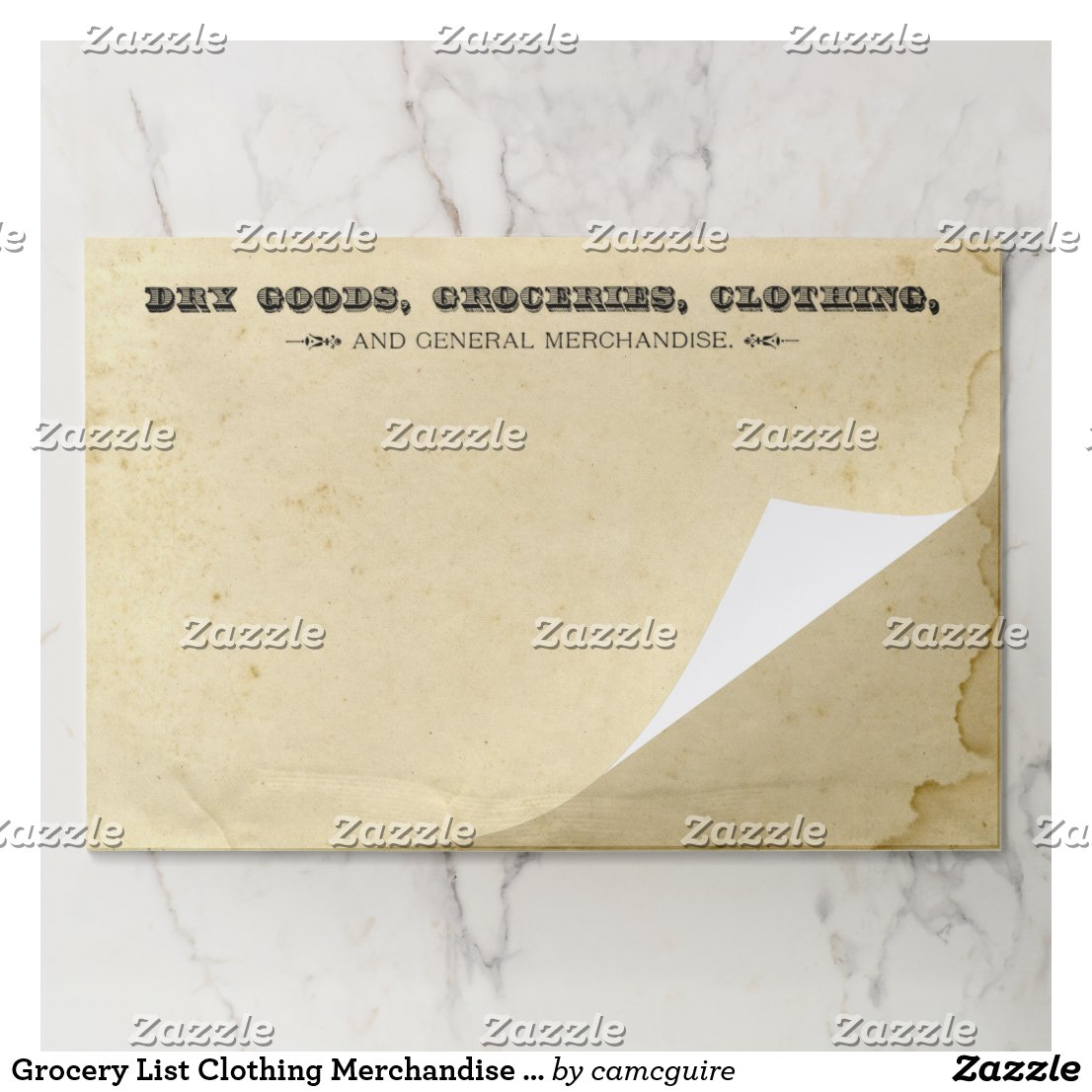 Dry Goods Groceries Clothing Merchandise Vintage Paper Pad
