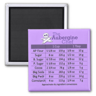 Dry Ingredients Measurement Conversion Table 2 Inch Square Magnet