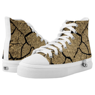 Dry land with cracked earth in drought High-Top sneakers