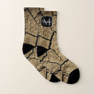 Dry land with cracked earth in drought Monogram Socks