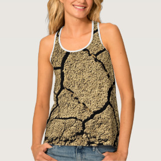 Dry land with cracked earth in drought tank top