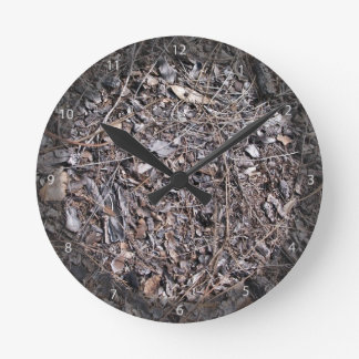 Dry Leaves Texture On Ground Wall Clock