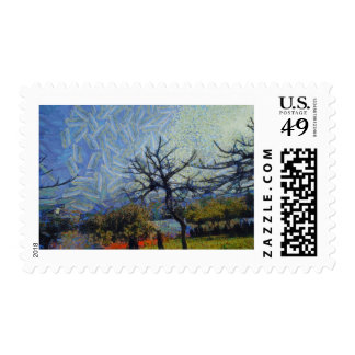 Dry lifeless trees in a garden stamp