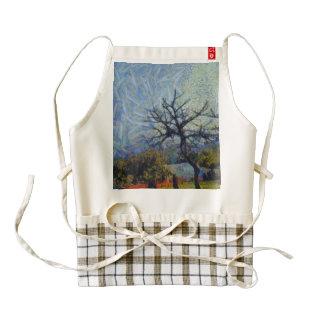 Dry lifeless trees in the garden zazzle HEART apron
