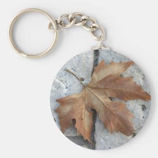 Dry maple leaf basic round button keychain