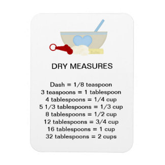 Dry Measure Equivalents Flexi Magnet