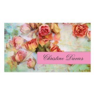 Dry roses on green vintage business card
