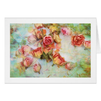 Dry roses on green vintage cards